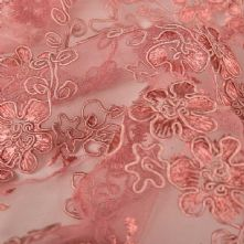 Double Scalloped Floral Corded Lace Fabric in Dusky Pink 130cm Wide
